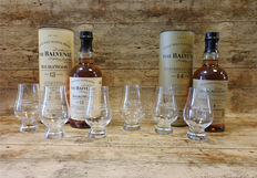 2 bottles - Balvenie 12 Double Wood & 14 Caribbean Cask in original tubes with 6 Balvenie glasses