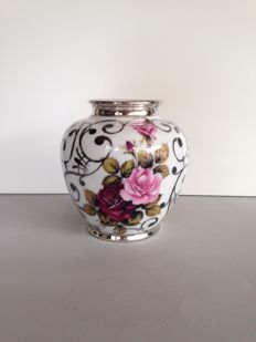 Bohemian pottery - Nice (rose0 vase with silver overlay.