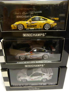 Minichamps - Scale 1/43 - 3x Porsche 911 (996) Carrera / Supercup
