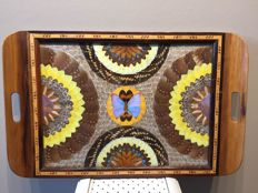 Special antique tray with butterfly art