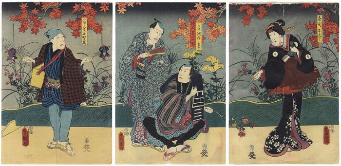 Original triptych woodblock print by Utagawa Kunisada (1786–1864) - Japan - 1852