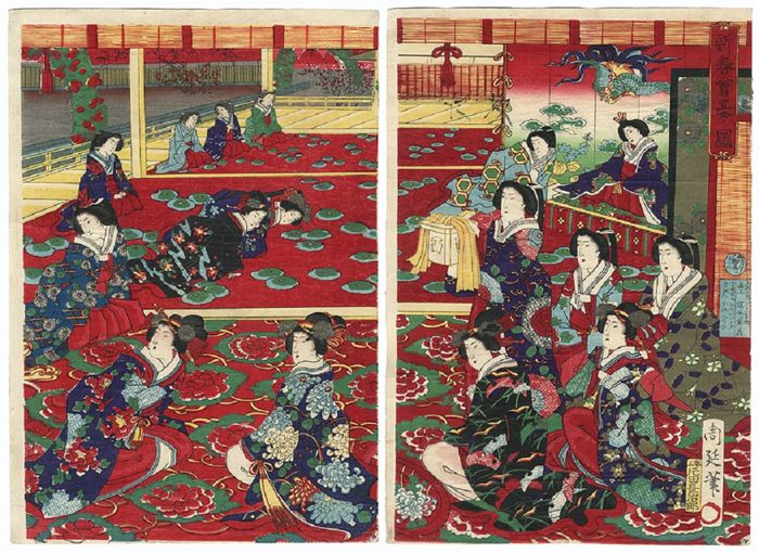 "Original diptych woodcut by Toyohara Chikanobu (1838 - 1912), title ""The Meji Empress and Ladies-in-waiting"" – Japan –1879"