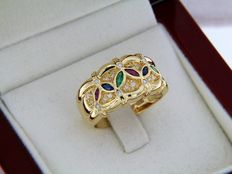 Gold ring set with Diamonds, Rubies, Sapphires and Emeralds - Size 53