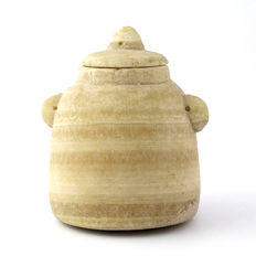 "A Biblical ""Beehive"" Unguent Jar and Lid- 10 cm"