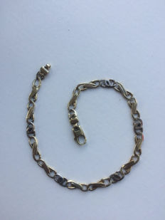 14 kt Yellow and white gold bracelet 22.5 cm