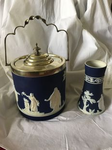 Adam Tunstall-England - Victorian biscuit barrel and vase, dark blue jasperware