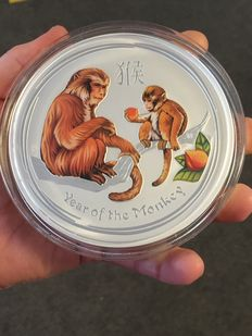 Australien - 30 Dollar - Lunar Jahr des Affe 2016 / Year of the Monkey - 1 Kg - 999 Silbermünze - Farbedition