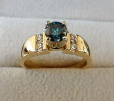 IGI Certified Natural Fancy Intense Blue Diamond Ring in 14K Yellow Gold, total 0.72 ct and Ring Size 17.5/55/7.5 (US)