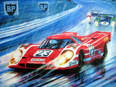 "Fine Art Print - ""Battle of the Titans"" - Porsche 917K  #23 Salzburg 917K #23 Herrmann/Attwood (Winner) #3 Porsche 917L Larousse/Kauhsen( Second) Le Mans 1970"