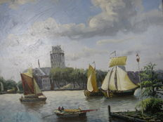 "Painted ""view of Dordrecht from the Merwede"" (cabin size)"