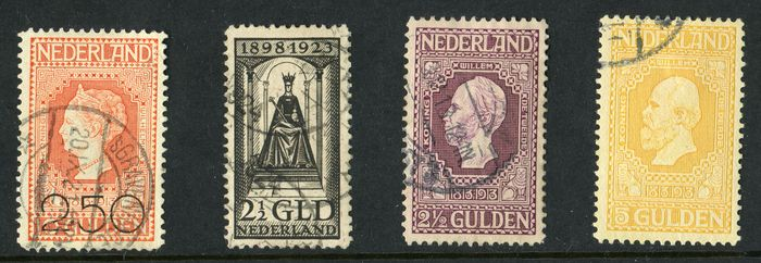 Netherlands 1913/1923 – Independence, Clearance issue and Queen's Jubilee – NVPH 99, 100, 105, 130