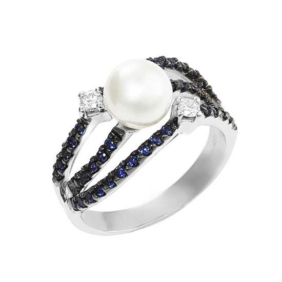 18 kt gold ring with pearl, sapphires and diamonds