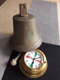 Old bronze ship's bell, and a bulls-eye ship's clock of the German quality mark Barigo