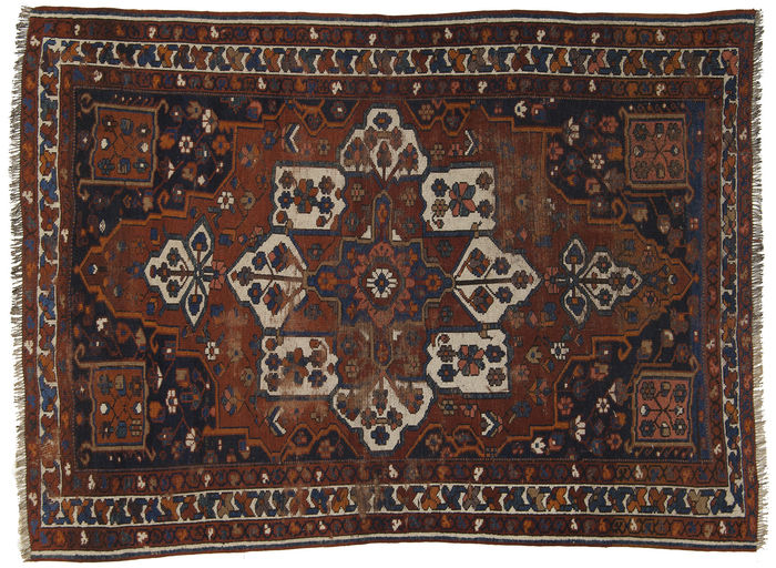 (Size: 148 x 203 cm) Authentic, original, antique Qashqai SHIRAZ rug, Persian, IRAN. With certificate of authenticity from official expert (Farah Gallery 1970)