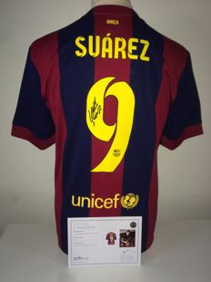 Luis Suarez Signed FC Barcelona home shirt 2014/2015 (Treble season) + COA inc. Photoproof.