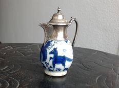 18th century faience can with 19th century silver mounting