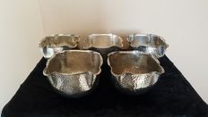 Set of 5 silver plated hammered finger bowls that have been used in Hôtel Central The Hague