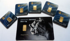 """6 pieces Nadir PIM gold bars - fine gold - purity of 999.9/1000 24 carat - 1 gold card motif - """"Praying Hands"""" - 1/2 grams and 5 gold bars 0.10 grams gold bar bullion in cheque card format - blistered - LBMA certified"""