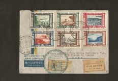 Kingdom of Italy 1933, Zeppelin Cruise, complete series on letter (Sassone 251 + 253 + P.A. 45/50)