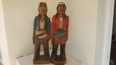 Apaches with colt (gun), hand-painted and carved, 50 cm