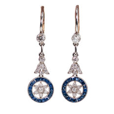 Diamond, Sapphire, Platinum Earrings