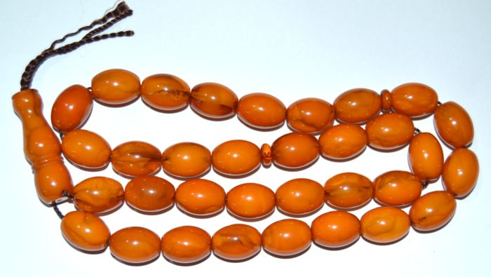 Islamic Copal resin Prayer Beads- 33 Beads - Middle East - 1990-2000
