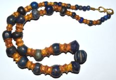 Large Ancient Bactrian Lapis Lazuli and Gold Necklace Huge Size