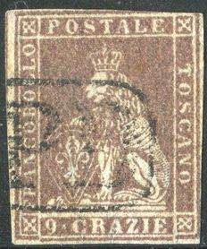 Tuscany, 1859 – 9 crazie stamp – Brown/grey/lilac – Sassone #16.