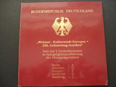 Germany - 5 x 10 Deutsche Mark 1999 Weimar Kulturstadt Europas and 250 Geburtstag Goethes