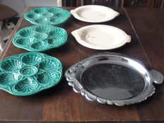 Fish tableware - five fish plates and serving dish.