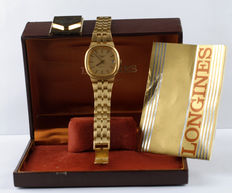 Automatic watch Swiss wristwatch LONGINES for men in yellow gold with calendar on the case and serial number