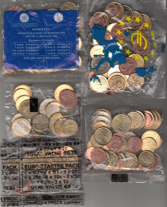 Europe, starter bags with euro coins from various countries (five different items)