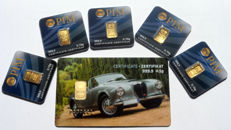 """6 pieces Nadir PIM gold bar fine gold purity of 999.9/1000 - 24 carat gold bar bullion in cheque card format - 1 gift card  motif """"Classic Car II"""" - 5 pieces 0.10 g, LBMA certified"""