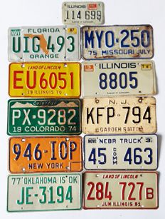 Set of 11 American license plates