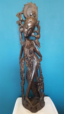Large, wooden, carved statue of a dancer – Bali – Indonesia