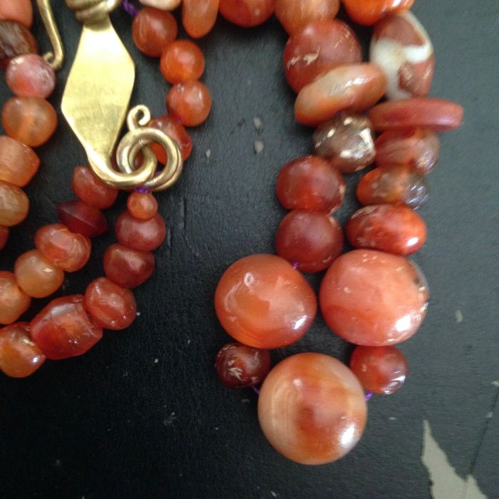 carnelian agate and glass Necklace agate