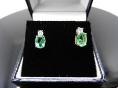 18k Gold Emerald and Diamond Earrings