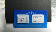 "Princess cut white diamond, colour: G, clarity: VVS2. Appraisal by ""La Pie"", diamond report no. 8443"