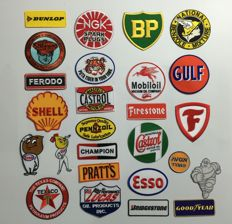 Garage related: 26 items sew-on emblems including Shell Michelin Esso Gulf