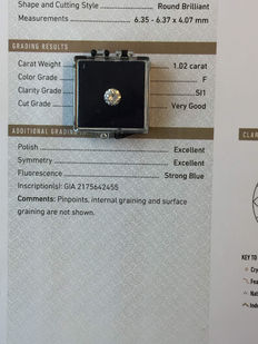 Brilliant cut diamond of 1.02 ct with GIA certificate, colour F SI1