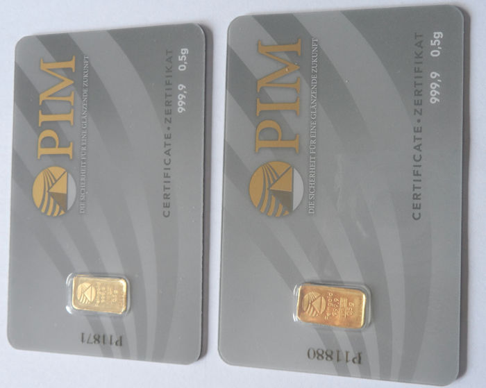 2 pieces Nadir PIM gold bars - each 0.5g fine gold - purity 999.9/1000 24 karat gold bars - 1 gram bullion in cheque card format - blistered - LBMA certified