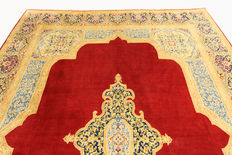 Magnificent beautiful Persian carpet, Kerman, Iran, handwoven, oriental carpet, 4.14 x 3.02 m, red wonderful carpet
