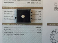 1.01 ct brilliant cut diamond, F, SI1, GIA