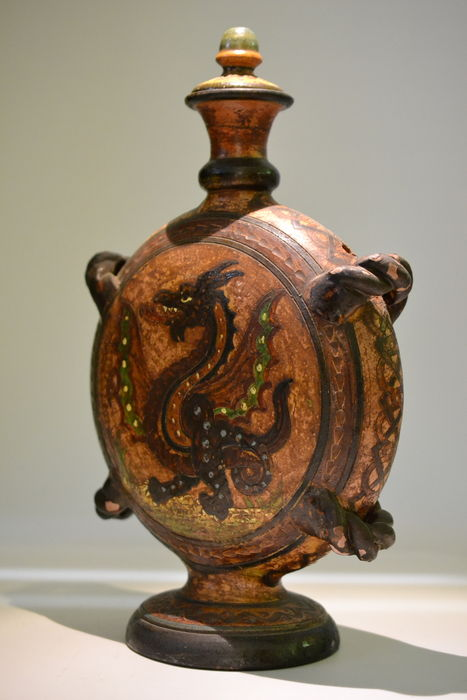 A Ceramic Jug renaissance representation from Montopoli in Italy around 1910-1930