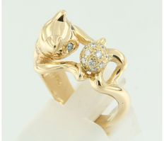 Bersier - 18 kt yellow gold ring, set with 19 brilliant-cut diamonds