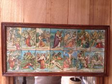 Stations of the cross in 14 framed old pictures - +/-1895