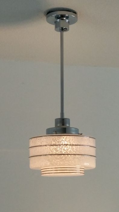 Art Deco Glass Lamp Shade With Nickel Plated Suspension Rod