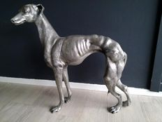 Heavy pewter Greyhound or Whippet sculpture of Brussels artist