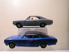 Dinky Toys-France - Scale 1/43 - Lot with Opel Rekord 1900S Coupe No.1405 en Opel Commodore Coupe No.179