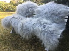 Lot with 2 Lot with 2 very large - real - premium - grey/blue longhair Icelandic sheepskins/lambskins - new!